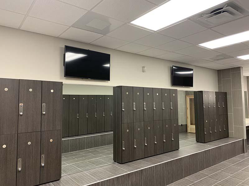 gym lockers TV Install